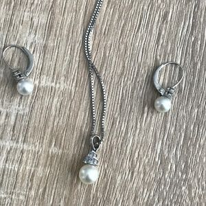 Cultured Pearl & Natural Sapphire Earring/Necklace